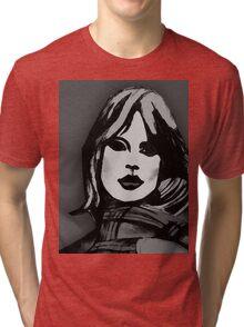 Blonde Girl Black And White Tri-blend T-Shirt
