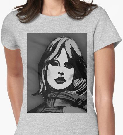 Blonde Girl Black And White Womens Fitted T-Shirt