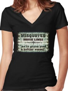 FUNNY MISQUOTED FAMOUS MOVIE LINES - Jaws Women's Fitted V-Neck T-Shirt