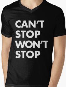 Can't stop Won't stop - White Mens V-Neck T-Shirt