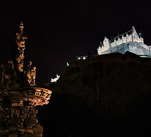 Ross Fountain & Edinburgh Castle By Night by Andrew Ness - www.nessphotography.com