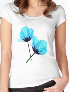 Two Electric Blue Flower Women's Fitted Scoop T-Shirt