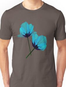 Two Electric Blue Flower Unisex T-Shirt