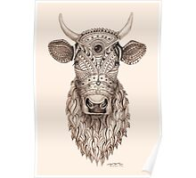 Ornamental cow - ink drawing Poster