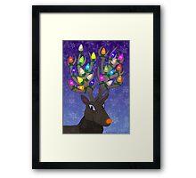 Rudolf with Christmas Tree Lights Framed Print