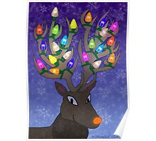 Rudolf with Christmas Tree Lights Poster