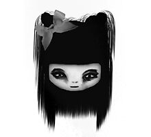 Little Scary Doll Black And White Photographic Print