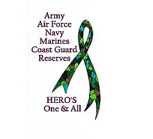 Support Our Heros ~ Green Camouflage Ribbon  Photographic Print