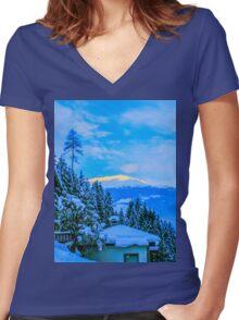 a colourful Austria landscape Women's Fitted V-Neck T-Shirt