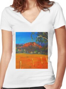 Hanging Rock, Woodend VIC Australia Women's Fitted V-Neck T-Shirt