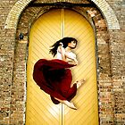 Dancer in red dress in front of yellow door by bradlentz-photo