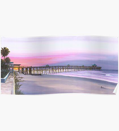 """"""" Folly Beach Pier """" Folly Beach SC USA Poster"""