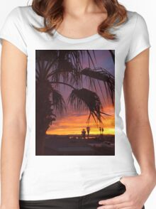 Palm Sunset Women's Fitted Scoop T-Shirt