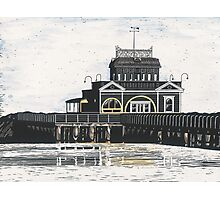 St. Kilda Pier cafe scratchboard Photographic Print