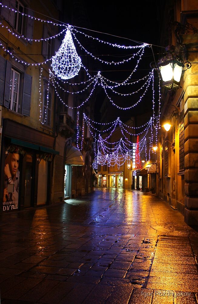 Reggio-Emilia. A Street View with Lights at Night. Italy 2009 by Igor Pozdnyakov
