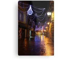 Reggio-Emilia. A Street View with Lights at Night. Italy 2009 Metal Print