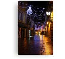 Reggio-Emilia. A Street View with Lights at Night. Italy 2009 Canvas Print