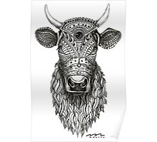 Ornamental cow - ink drawing - black and white Poster