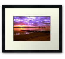 Sunset over the beach at St Kilda, Melbourne, Australia Framed Print
