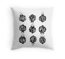 Black and White Poppy Seed Head Design Throw Pillow
