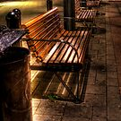 Row of Benches Night Cityscape by Demoshane