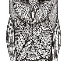 hand drawn portrait of an owl - black and white by maarta