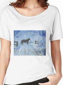 Horse in the Snow Women's Relaxed Fit T-Shirt