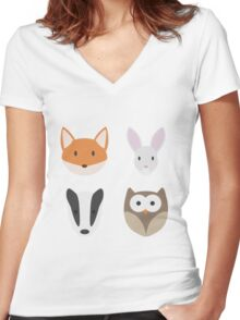 Woodland Animals Women's Fitted V-Neck T-Shirt