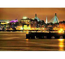 Golden Boston Skyline in December Photographic Print