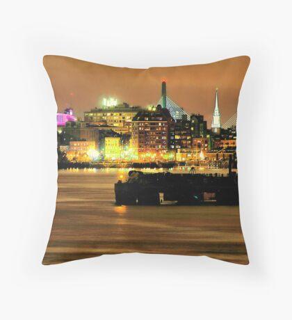 Golden Boston Skyline in December Throw Pillow