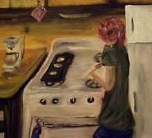 Sara Cooking Breakfast by tusitalo