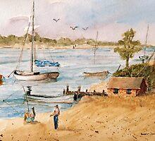 Fun in the Sun - Watercolor by Barry  Jones