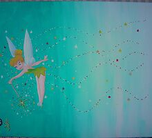Tinkerbell and Streams of Stars 11x14 acrylic on canvas by boocifer
