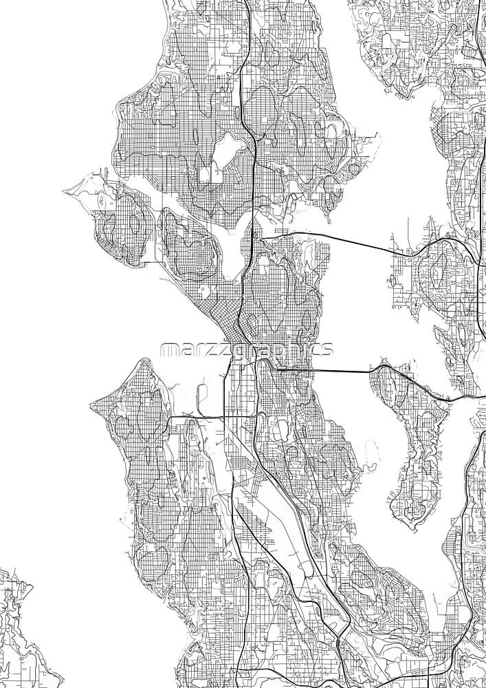 Seattle Map Poster Print Wall Art Washington Gift Printable Home