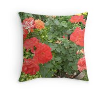 Tomato-Red Rose Glory Throw Pillow