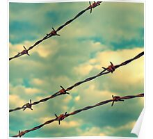 Barbed Wire, Blue Sky - Birmingham, Alabama Poster