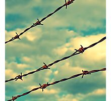 Barbed Wire, Blue Sky - Birmingham, Alabama Photographic Print