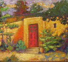 taos adobe  with red door by sharlesart