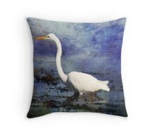 Egret Oil Painting Photography Throw Pillow