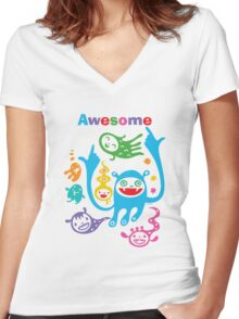 Stay Awesome - light  Women's Fitted V-Neck T-Shirt