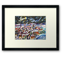 Sleeping Village, Christmas Snow  Framed Print