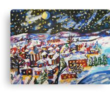 Sleeping Village, Christmas Snow  Canvas Print