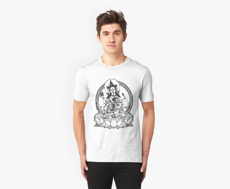 3 Headed Buddha on Lotus T-shirt by buddhabubba