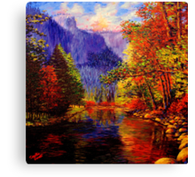 Yosemite River & Cliffs Canvas Print