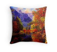 Yosemite River & Cliffs Throw Pillow