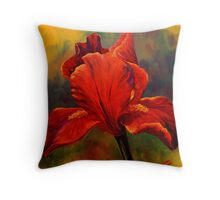 Red Iris Throw Pillow