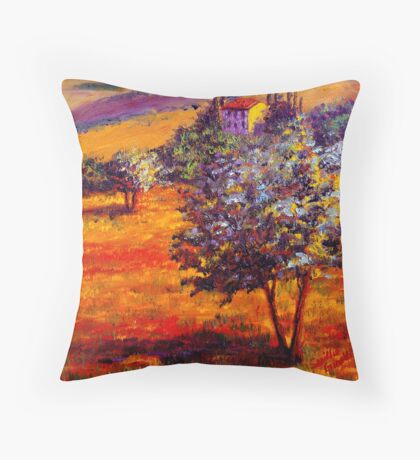 Hot Summer in the Olive Grove Throw Pillow