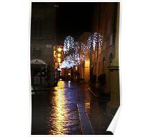 Reggio-Emilia. A Street View at Night at Piazza Duomo Poster