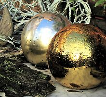 Christmas balls after rain by Hans Bax