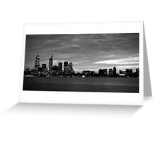 city skyline in black and white Greeting Card